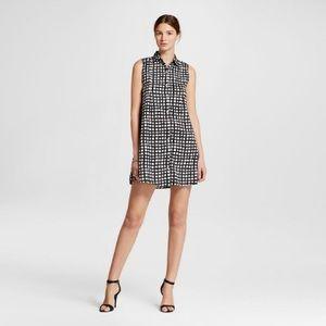 Gingham Crepe Button Front Shirt Dress (Target)